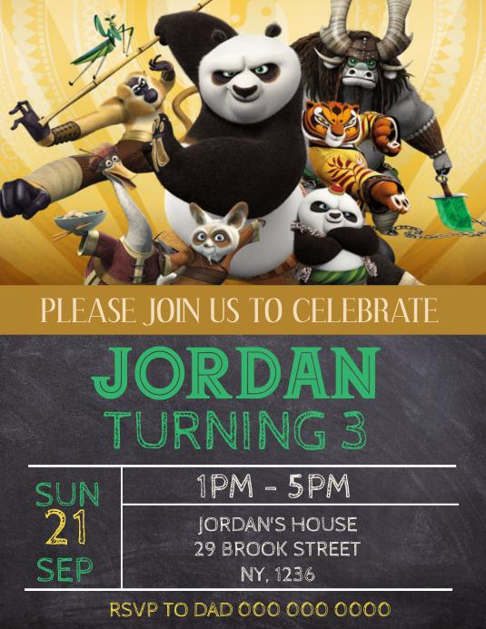 kung fu panda birthday party invitation