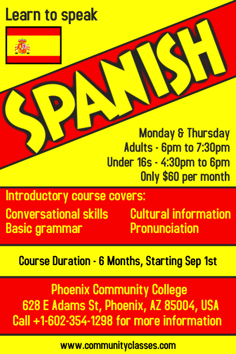 learn spanish language flyer poster