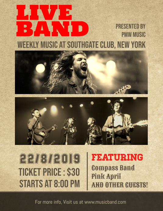 live band music concert poster template