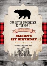 lumberjack invitation customizable