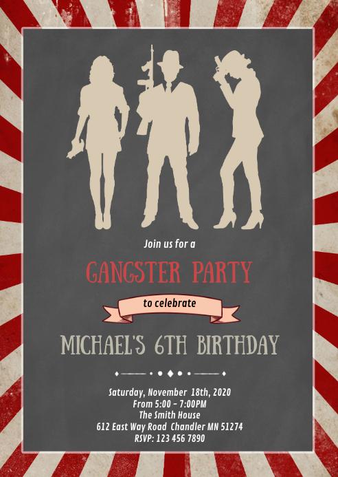mafia birthday party invitation