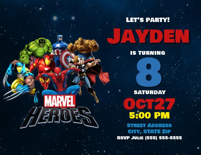printed marvel super heroes birthday