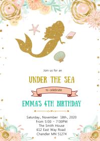 10 900 mermaid birthday invitation