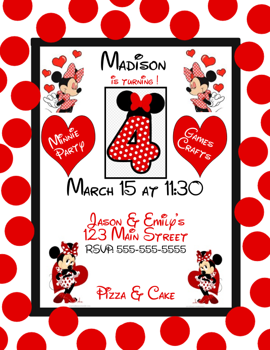 Minnie Mouse 4 Geburtstagsfeier Vorlage Postermywall