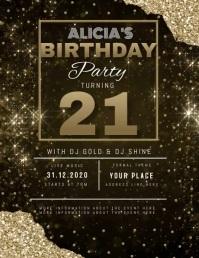 11 210 21st birthday invitation