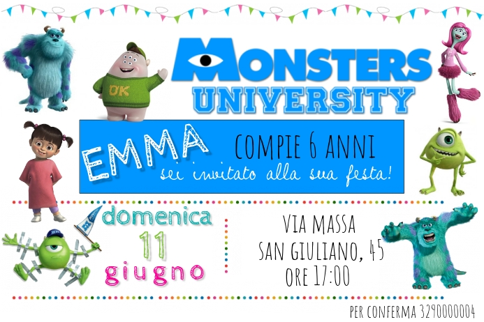 monsters university birthday invitation
