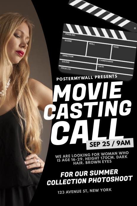 Movie Actor Casting Call Flyer Template Postermywall