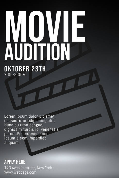 Movie Auditions Casting Call Flyer Template Postermywall