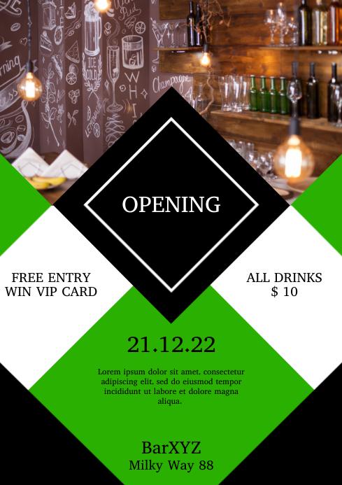 eroffnung bar club cafe flyer einladung