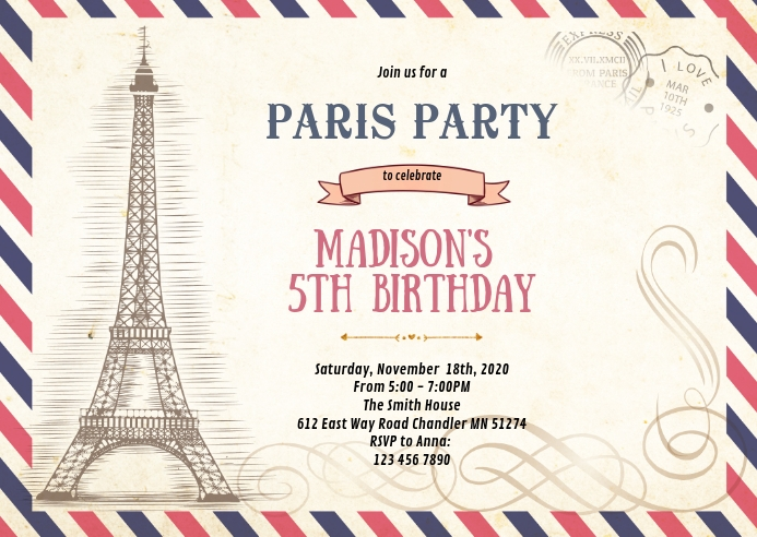 paris letter birthday invitation