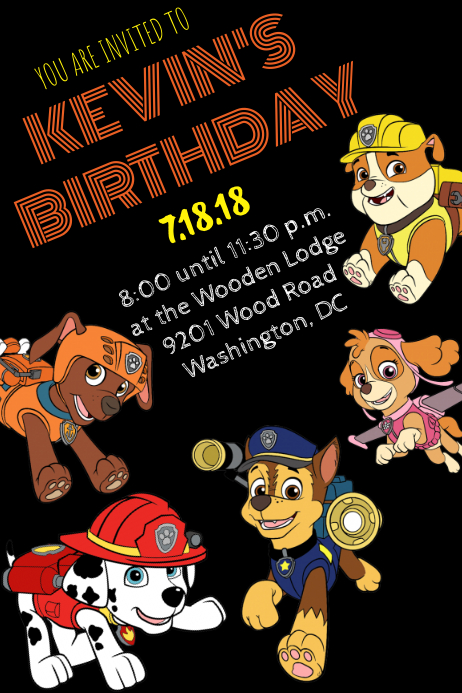 Paw Patrol Invitation Template PosterMyWall