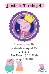 peppa pig birthday customizable design