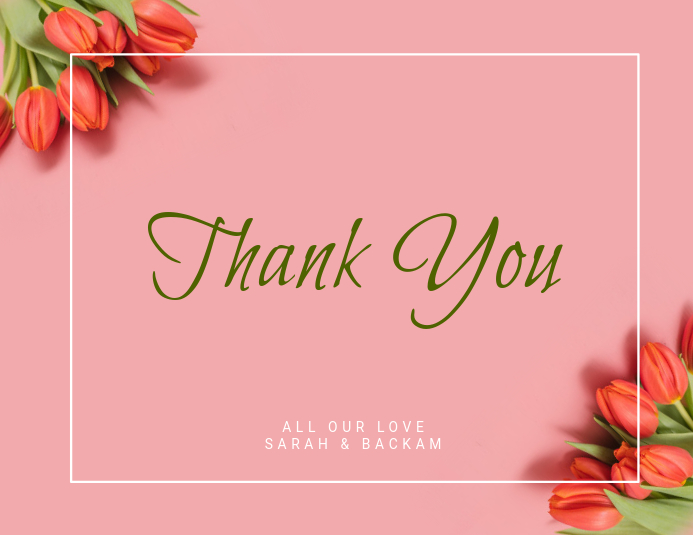 Pink Tulip Thank You Card Template Postermywall