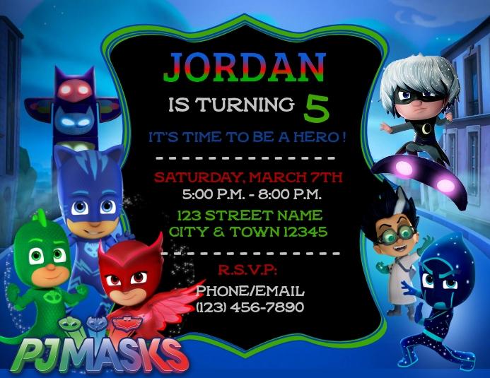 pj mask birthday invitation template