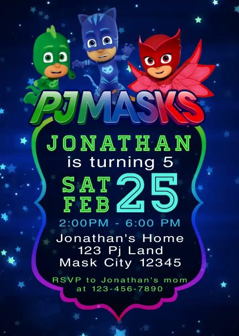 Pj Masks Party Video Birthday Invitation 5 Vorlage Postermywall