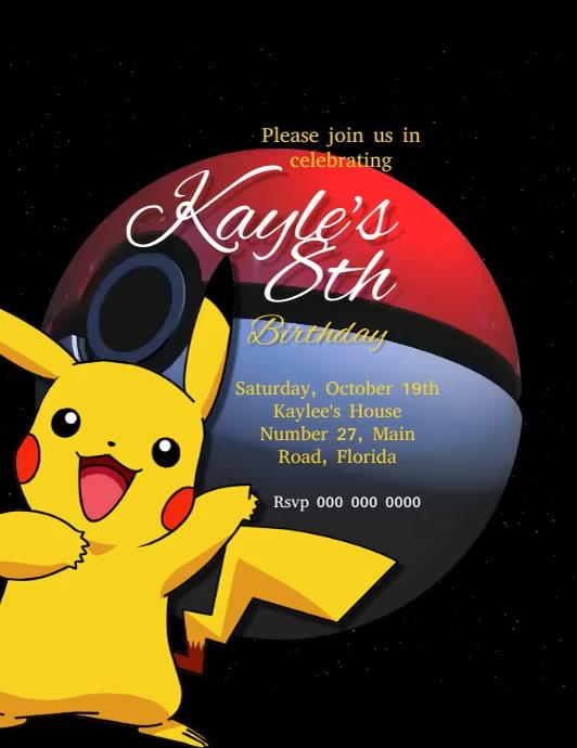 pokemon birthday party invitation template