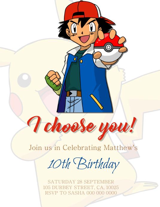 pokemon birthday party invitation
