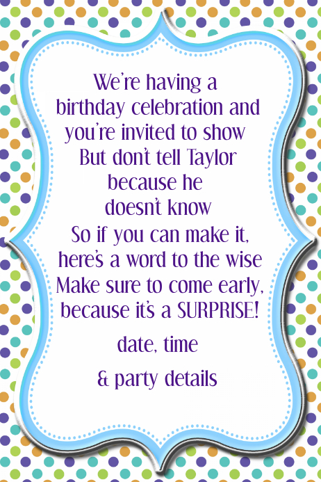 Polka Dot Birthday Party Invitation Announcement Poster Template Postermywall