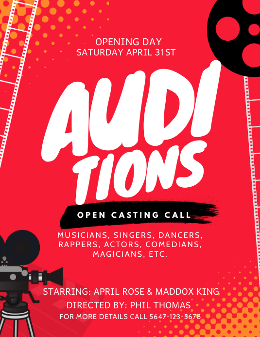 Red Theater Auditions Casting Call Flyer Template Postermywall