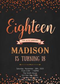18th birthday card customizable design