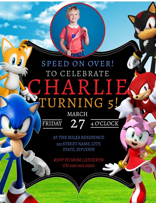 Sonic Geburtstagsfeier Einladung Vorlage Vorlage Postermywall