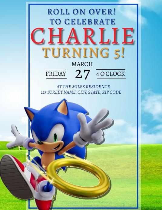 Kopie Von Sonic Birthday Party Invitation Template Postermywall