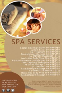 Spa salon Price List Template   PosterMyWall Spa salon Price List Template