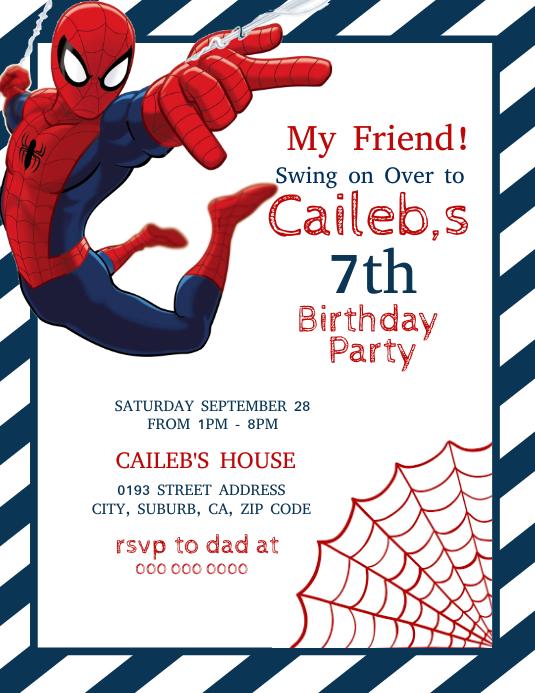 spider man birthday party template