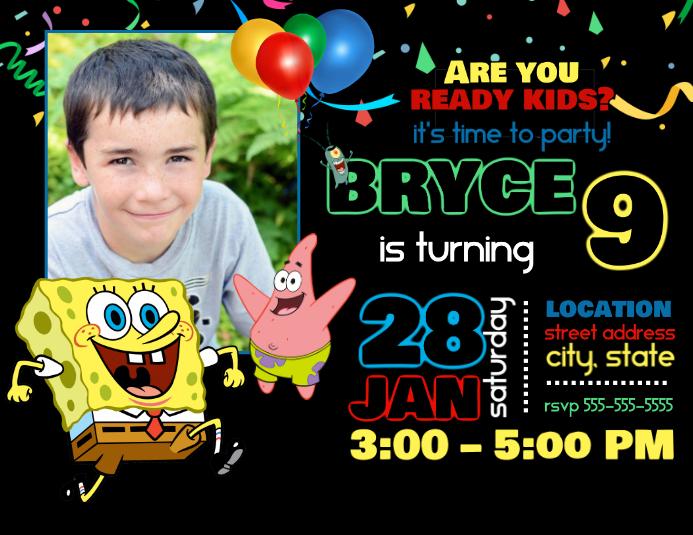 spongebob birthday invitation template
