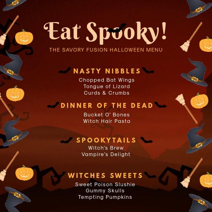 Video Menu Makan Malam Halloween Seram Templat Postermywall