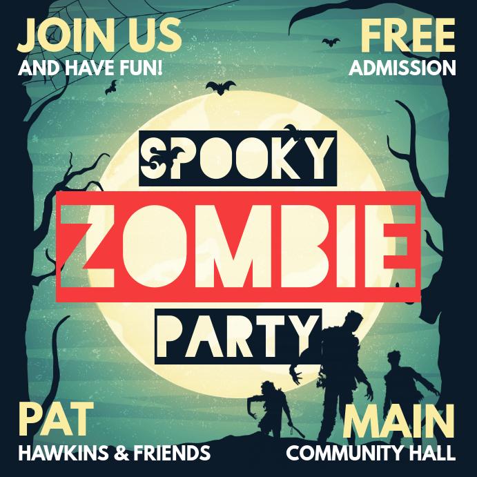Spooky Halloween Zombie Party Social Media Invitation