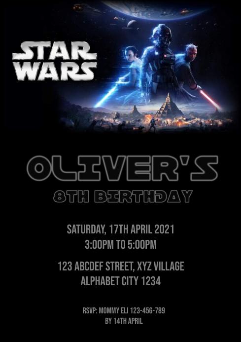 Star Wars Geburtstag Einladung 7 Vorlage Postermywall