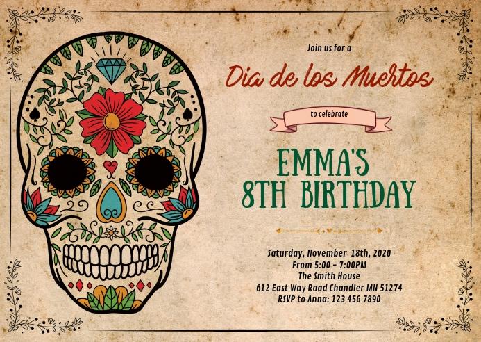 Sugar Skull Birthday Party Einladungsbroschure Vorlage Postermywall