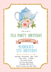 tea party invite customizable design