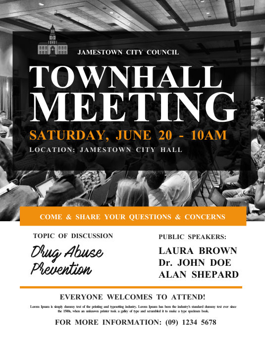 Town Hall Meeting Flyer Template Postermywall