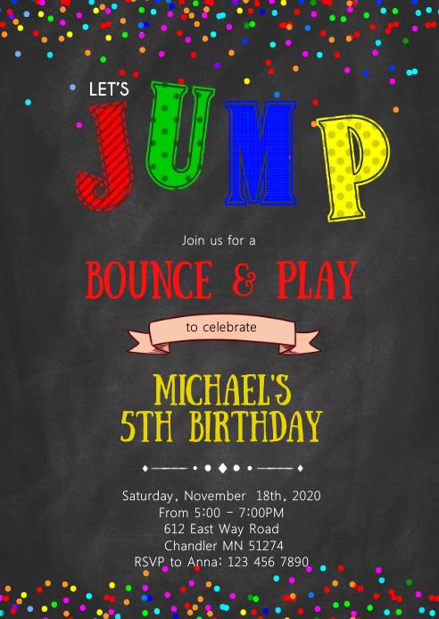 Suchtrampolin Geburtstagsfeier Einladungsbroschure Vorlage Postermywall