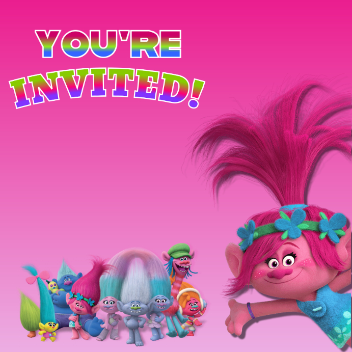 trolls invitation template postermywall
