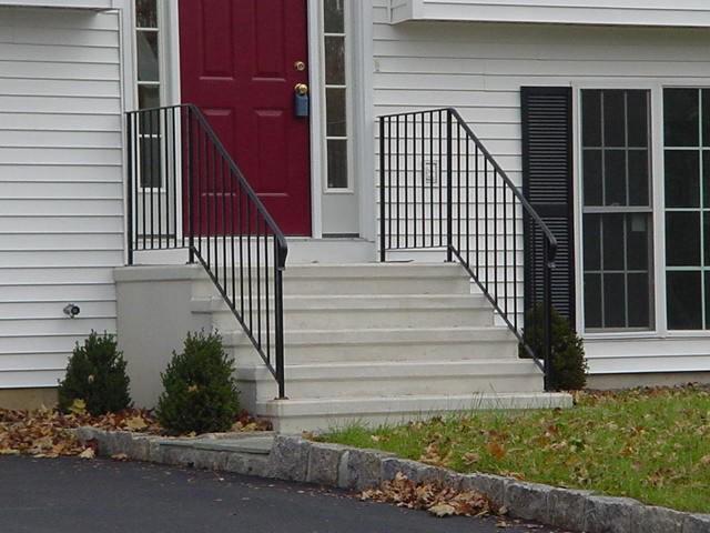 Precast Concrete Steps Concrete Products In Danbury Ct Mono   Outdoor Railings For Concrete Steps   Front Porch   Concrete Slab   Railing Ideas   Steel Handrail   Brick