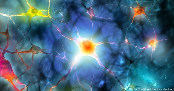 Illustration of a nerve cell with light effects