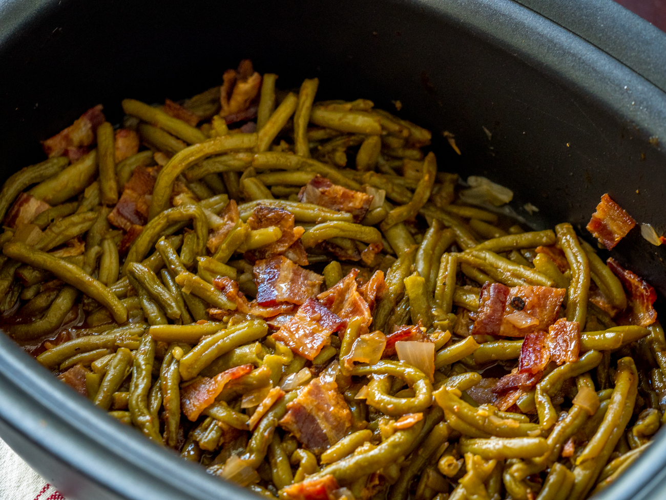 Slow Cooker BBQ Green Beans 12 Tomatoes