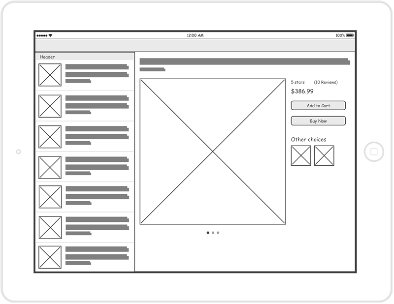 Online shop wireframe example