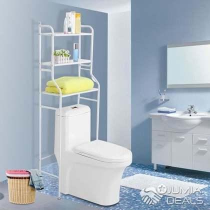 etagere de salle de bain meuble de rangement au dessus des toilettes wc blanc