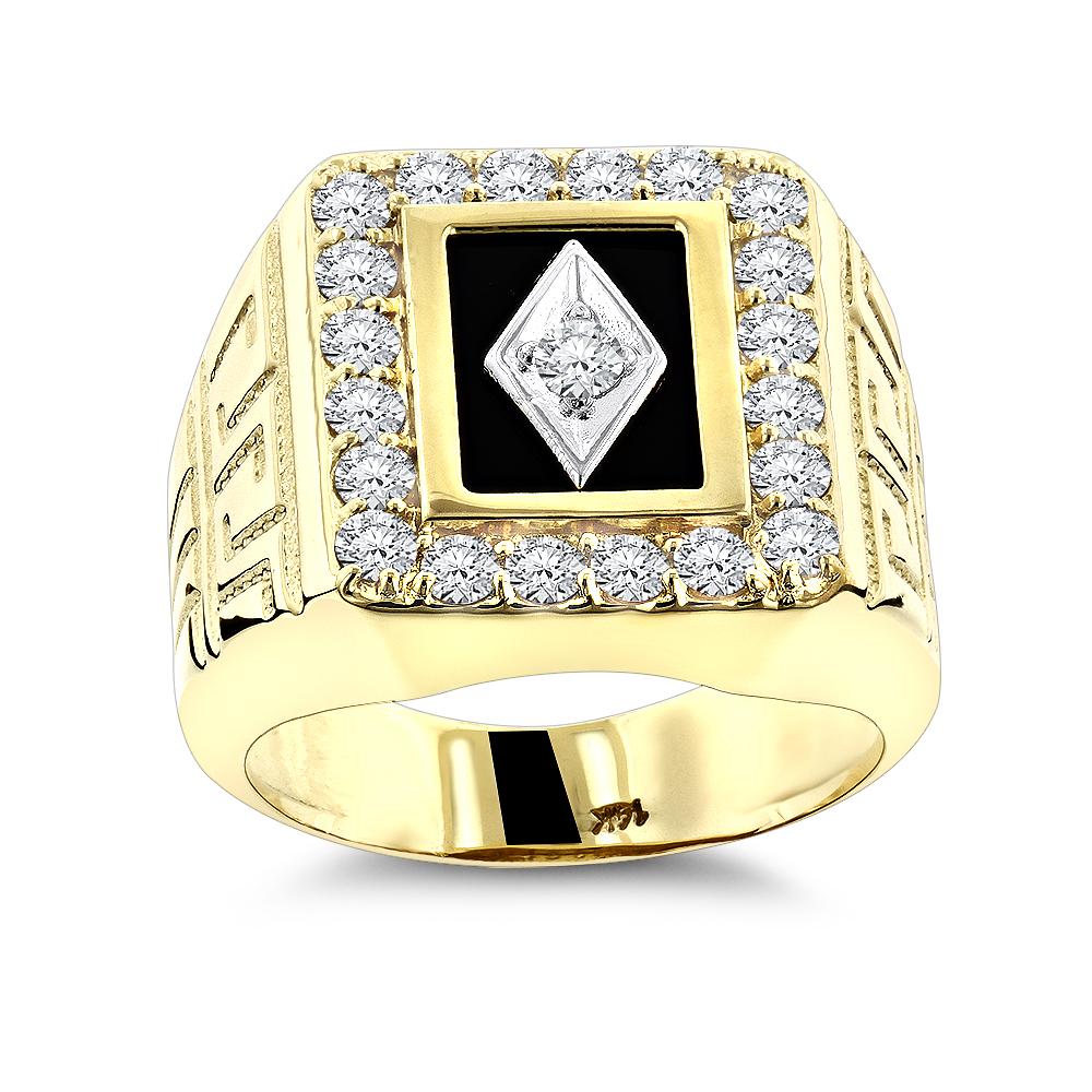 Black Onyx And Diamond Rings 14K Gold Mens Ring 168ct