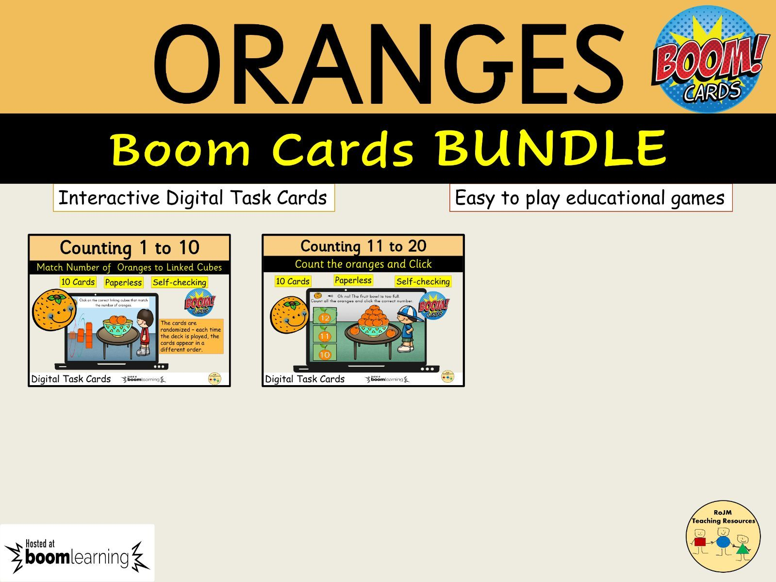 Oranges Bundle Boom Cards Distance Learning Counting