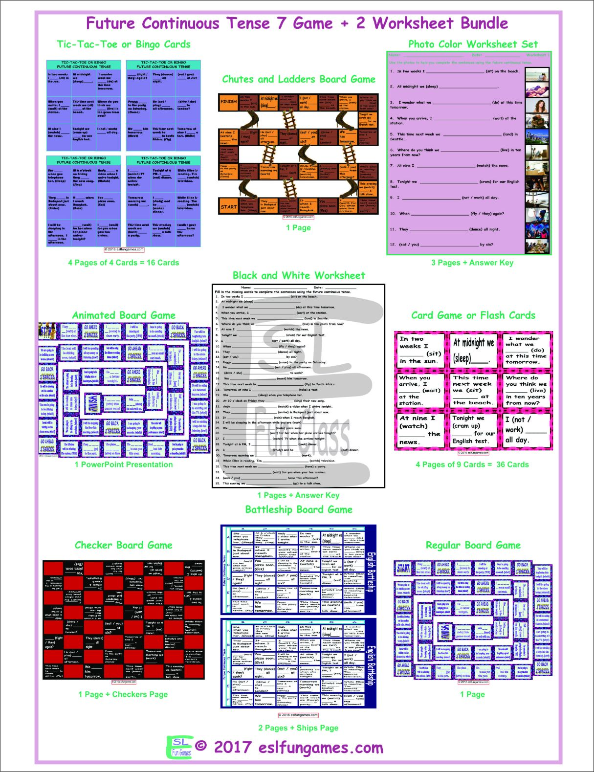 Future Continuous Tense 7 Game Plus 2 Worksheet Bundle