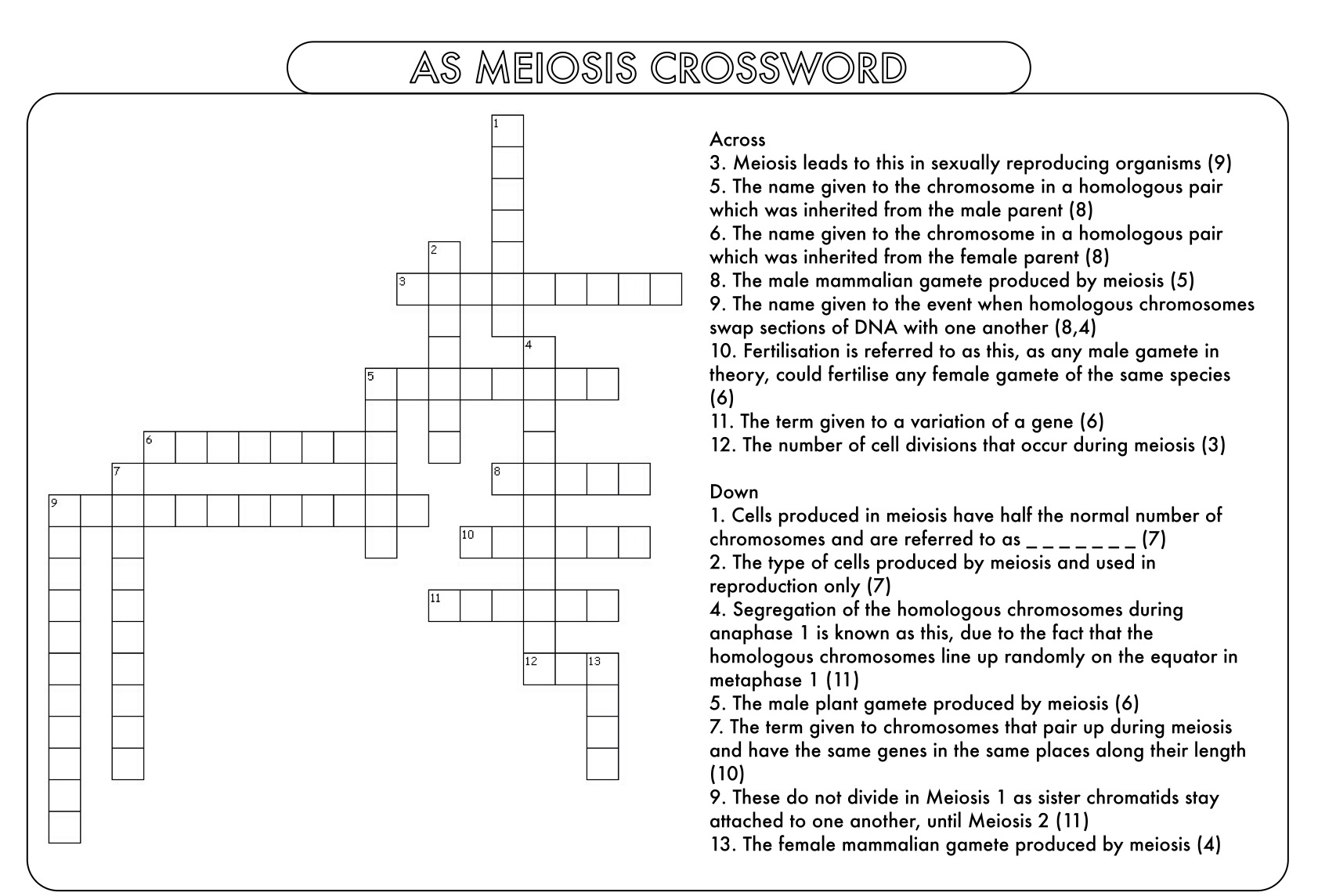 Cell Division Mitosis And Meiosis Crossword Puzzle Resources