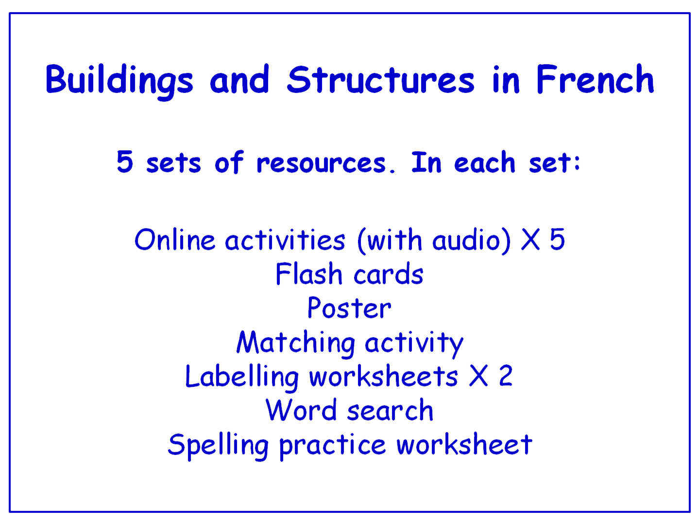 Buildings And Structures In French Worksheets Games Activities And Flash Cards With Audio