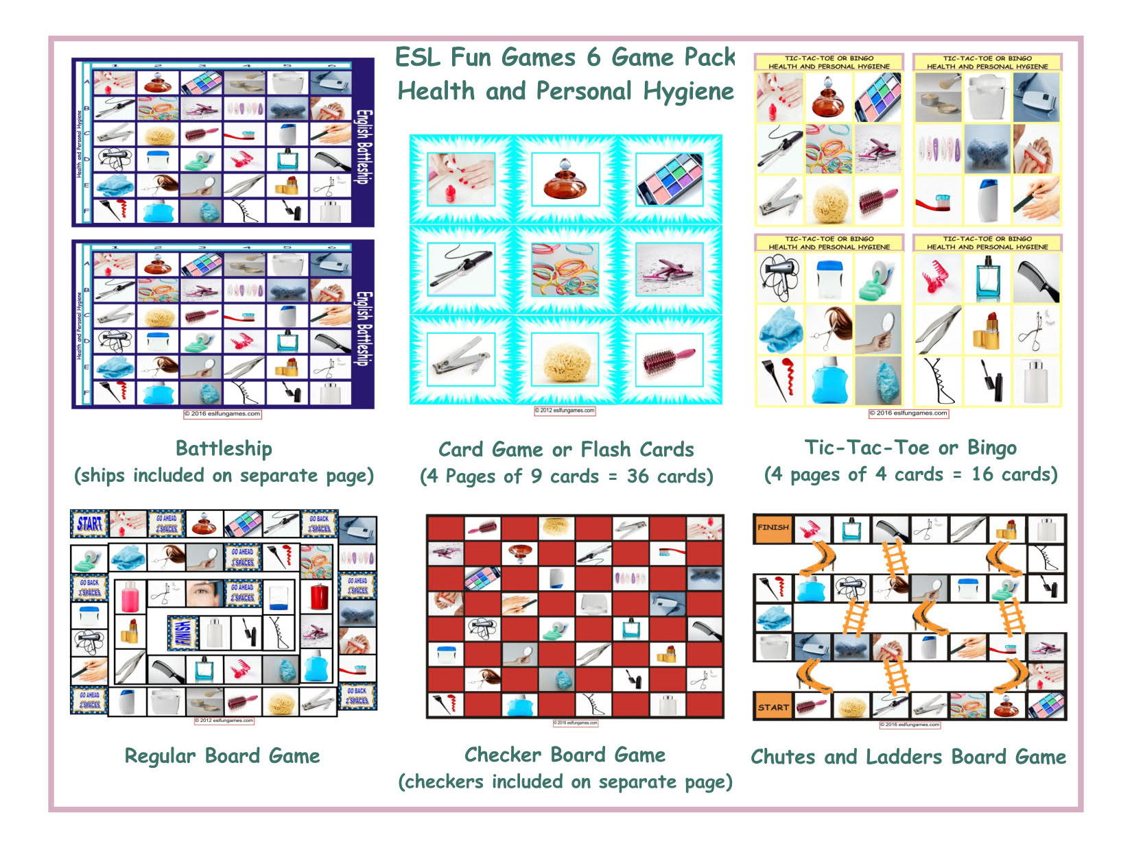 Health And Personal Hygiene 6 Board Game Bundle By Eslfungames