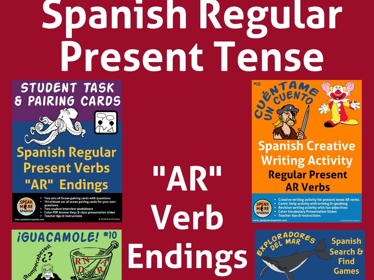 Bundle Spanish Regular Present Ar Verbs Verbos
