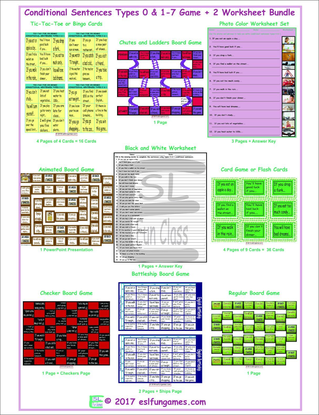 Conditional Sentences Types 0 Amp 1 7 Game Plus 2 Worksheet Bundle By Eslfungames